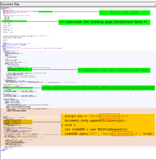 full browser window WebGL index file layout